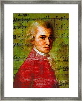 Wolfgang Amadeus Mozart 20140121v1 Framed Print by Wingsdomain Art and Photography
