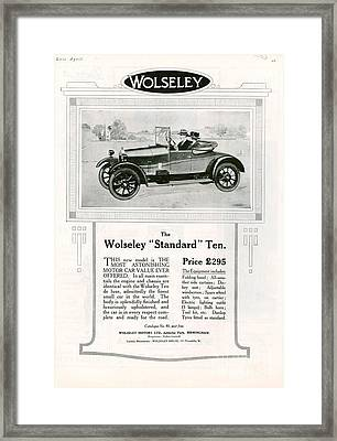 Wolseley 1923 1920s Usa Cc Cars Framed Print by The Advertising Archives