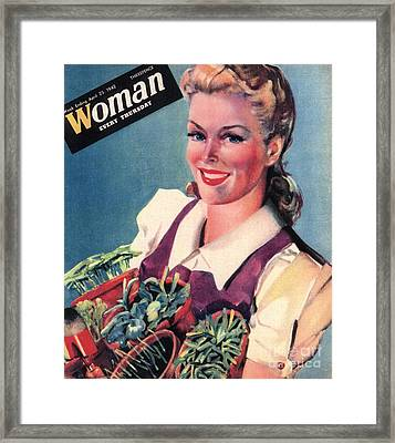 Woman 1942 1940s Uk Land Girls Dig Framed Print by The Advertising Archives