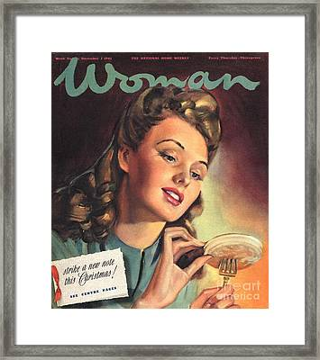 Woman 1945 1940s Uk People Eating Framed Print by The Advertising Archives