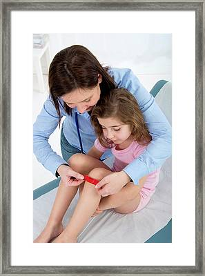 Woman Applying Plaster To Girl's Knee Framed Print by Lea Paterson