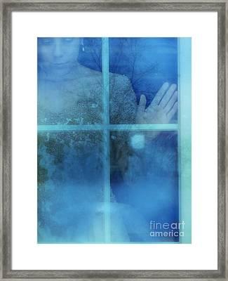 Woman At A Window Framed Print by Jill Battaglia