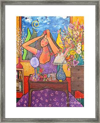 Woman At Dressing Table Framed Print by Chaline Ouellet