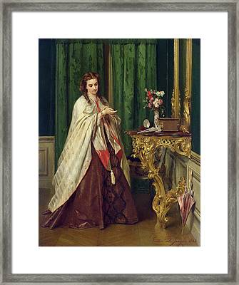 Woman At Her Toilet Framed Print by Gustave Leonard de Jonghe