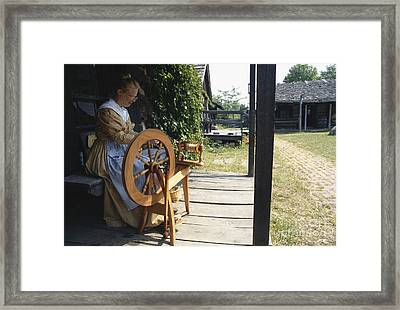 Woman At Spinning Wheel, Fort New Framed Print by Van D. Bucher