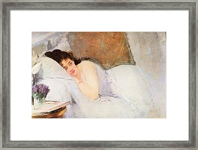 Woman Awakening Framed Print by Eva Gonzales