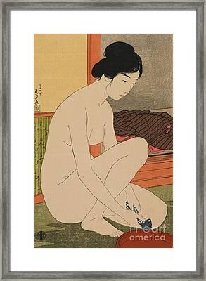 Woman Bathing Taisho Era Framed Print by Goyo Hashiguchi