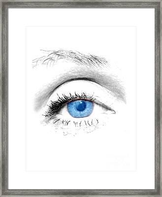 Woman Blue Eye Framed Print by Michal Bednarek