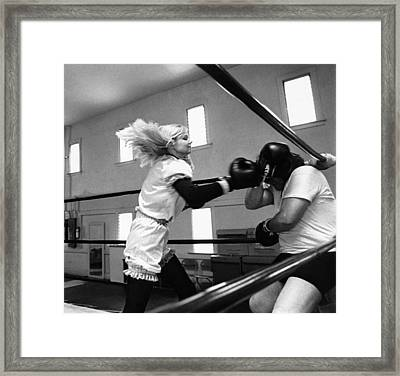 Woman Boxer Framed Print by Underwood Archives