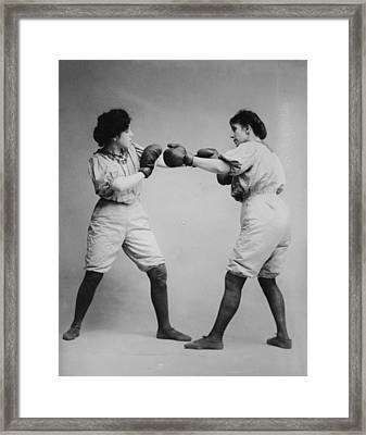 Woman Boxing Framed Print by Digital Reproductions
