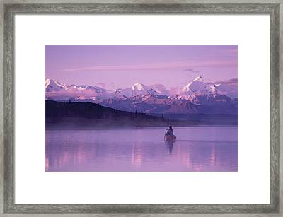 Woman Canoeing In Wonder Lake In The Framed Print by Michael DeYoung