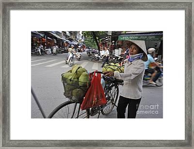 Woman Carrying Fruit On Bike Framed Print by Sami Sarkis