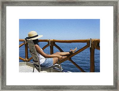 Woman Enjoying The View  Framed Print by Aged Pixel