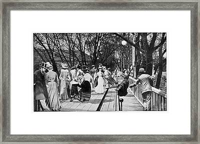 Woman Falling Off A Moving Walkway Framed Print by Cci Archives