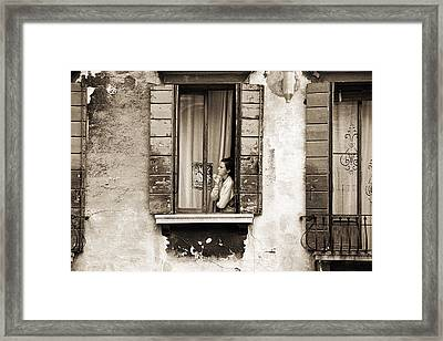 Woman Gazing Out Of A Window Contemplating Framed Print by Stephen Spiller