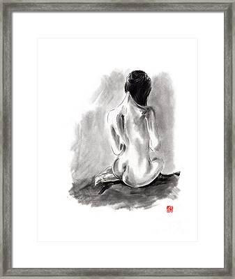 Woman Geisha Erotic Act Beautiful Girl  Japanese Ink Painti Framed Print by Mariusz Szmerdt