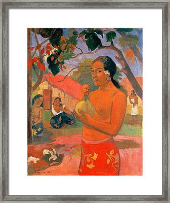 Woman Holding A Fruit.where Are You Going . Eu Haere Ia Oe Framed Print by Paul Gauguin