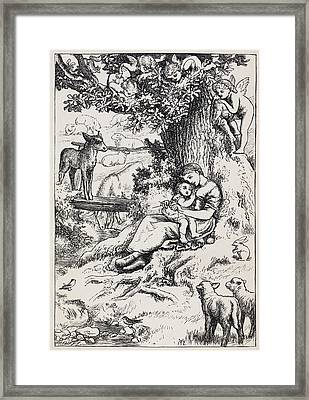 Woman Holding Child Framed Print by British Library