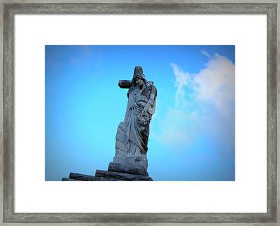 Woman Holding Cross Framed Print by Beth Vincent