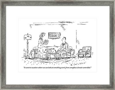 Woman Holding Travel Book Speaks To Man In Living Framed Print by Barbara Smaller