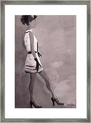 Woman In A Black And White Mini Dress Fashion Illustration Art Print Framed Print by Beverly Brown Prints
