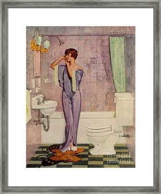 Woman In Bathroom 1930s Uk Cc Cc Framed Print by The Advertising Archives