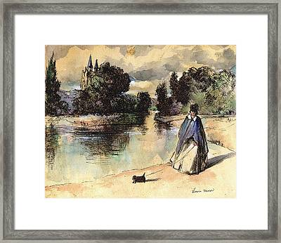French Woman Walking Dog Influenced By Past Master Framed Print by Victoria Stavish