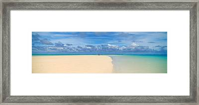 Woman In Distance On Sandbar, Aitutaki Framed Print by Panoramic Images