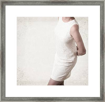 Woman In Lace Dress Framed Print by Edward Fielding