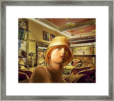 Woman In Lobby Framed Print by Chuck Staley