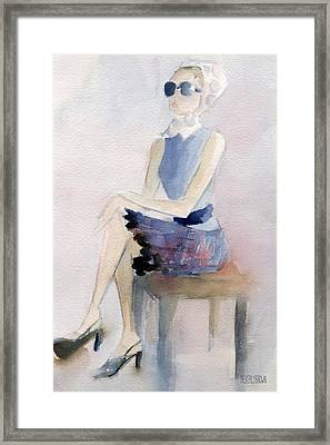 Woman In Plaid Skirt And Big Sunglasses Fashion Illustration Art Print Framed Print by Beverly Brown