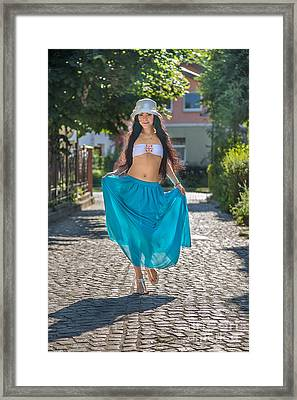 Woman In Transparent Skirt Framed Print by Aleksey Tugolukov
