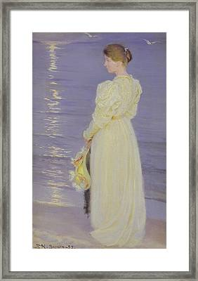 Woman In White On A Beach, 1893 Framed Print by Peder Severin Kroyer