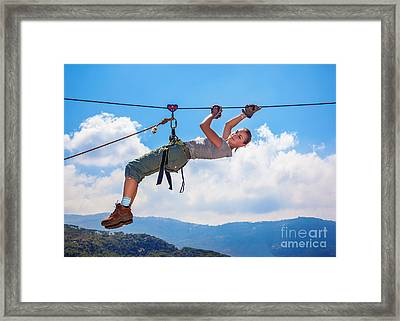 Woman Mountaineer Framed Print by Anna Omelchenko