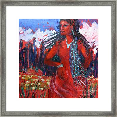 Woman Of The Whispering Wind Framed Print by Avonelle Kelsey