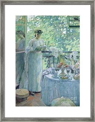 Woman On A Balcony  Framed Print by Henri Ottmann