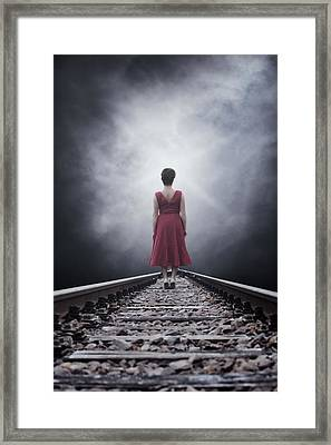Woman On Tracks Framed Print by Joana Kruse