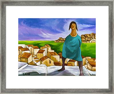 Woman On Village Steps Framed Print by William Cain