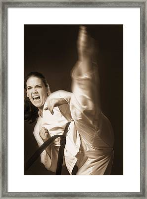 Woman Performing Martial Arts Framed Print by Don Hammond