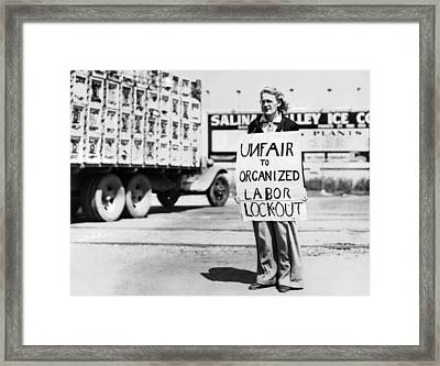 Woman Pickets In Salinas Framed Print by Underwood Archives