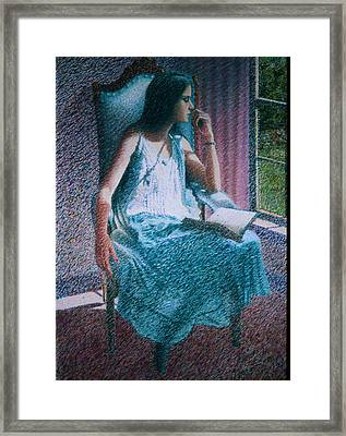 Woman Reading Framed Print by Herschel Pollard