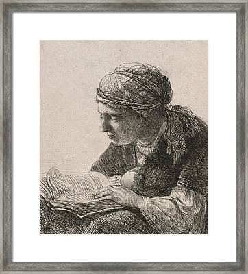 Woman Reading Framed Print by Rembrandt