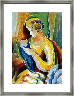 Woman Seated Holding A Baby Framed Print by Thomas Benton