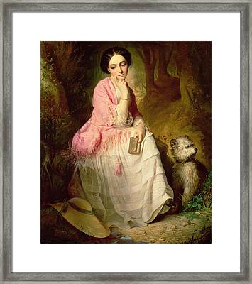 Woman Seated In A Forest Glade Framed Print by Gyorgyi Giergl Alajos