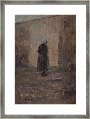 Woman Seen From Behind Standing Before A Wall  Framed Print by Henri Duhem