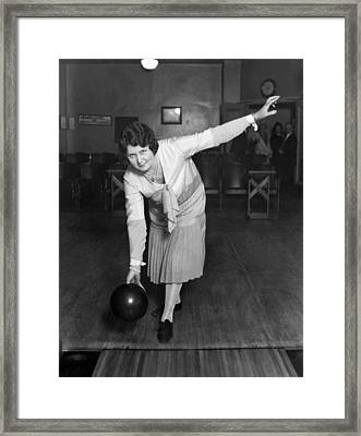 Woman Sets Bowling Record Framed Print by Underwood Archives