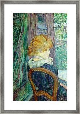 Woman Sitting In A Garden Framed Print by Henri de Toulouse-lautrec