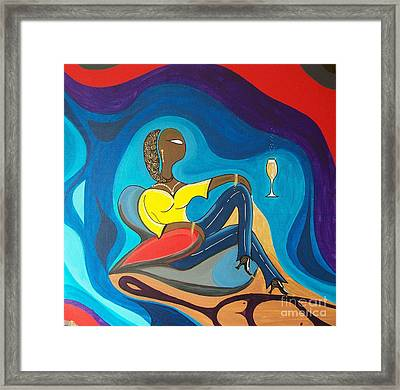 Woman Sitting In Chair Surrounded By Female Spirits Framed Print by John Lyes