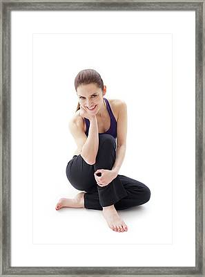 Woman Sitting On Floor Framed Print by Ian Hooton