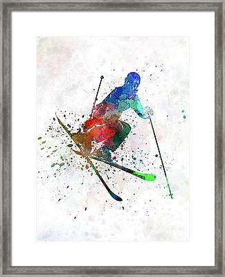 Woman Skier Freestyler Jumping Framed Print by Pablo Romero
